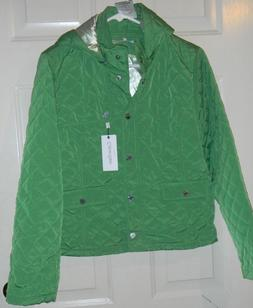 Calvin Klein NWT Womens L Hooded Quilted Jacket Button Down