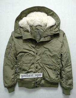 NWT Womens American Eagle Sherpa Hooded Puffer Bomber Jacket