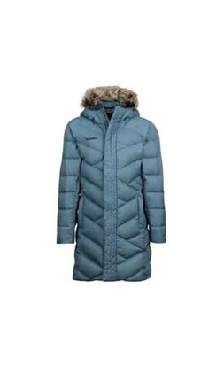 NWT Marmot Womens Varma Jacket Long Down Blue Faux Fur Hood