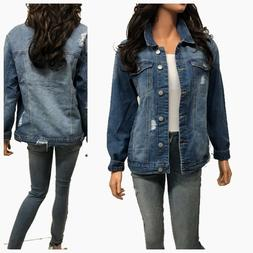 Women's Causal  Long Sleeve  Loose Fit Denim Jean Jacket