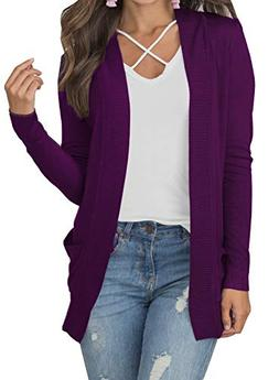 MIHOLL Women's Open Front Knit Long Sleeve Pockets Cardigan