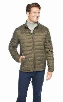 Tommy Hilfiger Men's Packable Down Jacket, Olive, Large