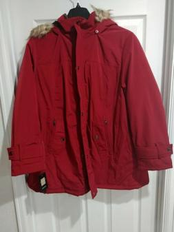 Plus Size Gallery Hooded Lined Rain Jacket - Red. New with t