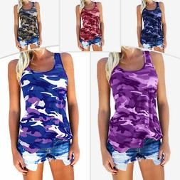 Plus Size Women Casual Army Camo Tank Tops Sleeveless Summer