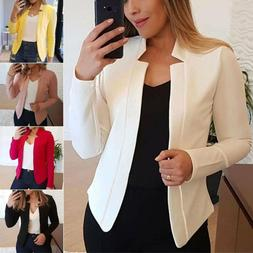 Plus Size Women Casual Slim Blazer Suit Jacket Coat Formal C