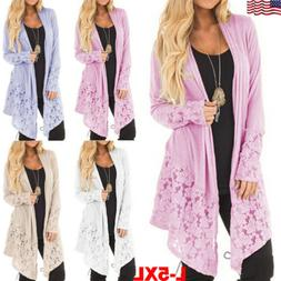 Plus Size Womens Long Sleeve Knitted Cardigan Sweater Casual