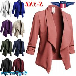 Plus Size Womens Slim OL Suit Blazer Jacket Top Outwear Long