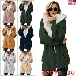 Plus Size Womens Winter Hooded Fleece Oversized Jacket Ladie