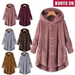 Plus Size Womens Winter Hooded Fluffy Coat Fleece Fur Jacket