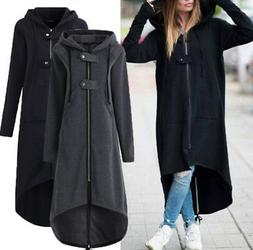 Plus Size Womens Winter Hooded Long Trench Coat Warm Fleece