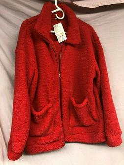 PrettyGarden Red Fuzzy Jacket