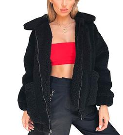 PRETTYGARDEN Women's Jacket Faux Shearling Shaggy Oversized