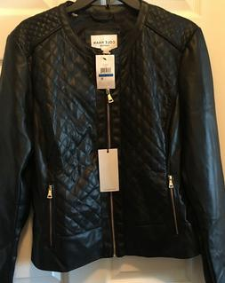 COLE HAAN Quilted Faux Leather Collarles Black Jacket Coat W
