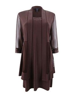 R&M Richards Women's Petite Metallic-Trim Shift Dress and Ja