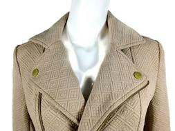 Roz and Ali, Womens Lightweight Quilted  Moto Jacket, Beige