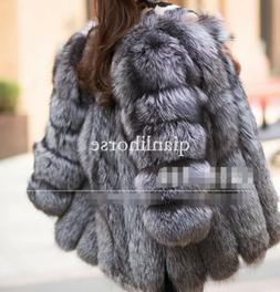 S-4XL womens thicken fox fur outwear parka silver gray coat