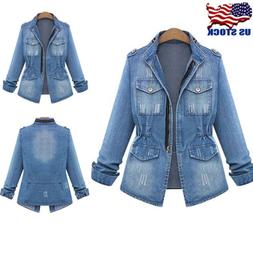 S-5XL Women's Blue Jeans Denim Jacket Long Sleeve Fashion Tr