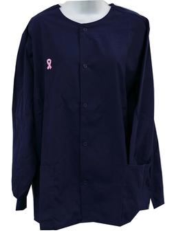 Scrub Warm Up Jacket with Pink Ribbon