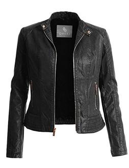 LE3NO Womens Sherpa Fur Lined Quilted Faux Leather Biker Mot