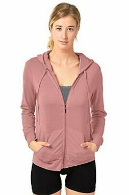 Sofra Women's Thin Cotton Zip Up Hoodie Jacket, Mauve Rose,