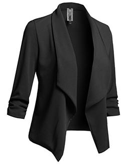 Solid Stretch 3/4 Gathered Sleeve Open Blazer Jacket Black S