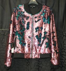 LuLaRoe STEVIE JACKET FLIP SEQUINS PINK TO BLUE 2XL NWT NEW