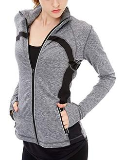 icyzone Women's Stretch Running Workout Yoga Full Zip Jacket