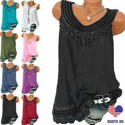 Summer Women Lace Loose Sleeveless Vest T Shirt Blouse Boho