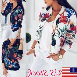 US Fashion Women Retro Floral Zipper Up Flight Bomber Jacket