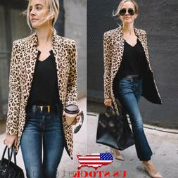 US Leopard Jacket Women Sweater Top Warm Casual Winter Cardi