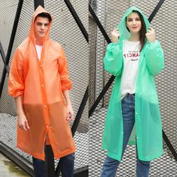 US NEW Men Women Waterproof Jacket PE Hooded Raincoat Rain C
