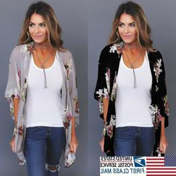 US STOCK New Women Floral Loose Kimono Cardigan Boho Chiffon