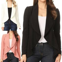 US Women Casual Lapel Split Long Sleeve Blazer Cape Coat OL