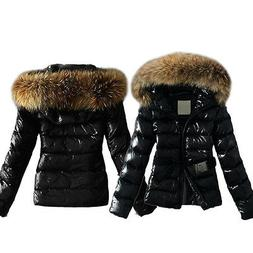 US Womens Ladies Quilted Padded Bubble Fur Hooded Thick Warm
