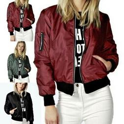 US Womens Fashion Classic Bomber Jacket Coat Clothes Outwear