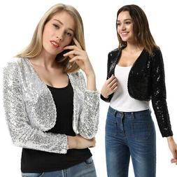 US Womens Sequin Jacket Open Front Glitter Cropped Top Boler