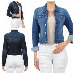 Waxjean Women's  Long Sleeve Basic Denim Jacket