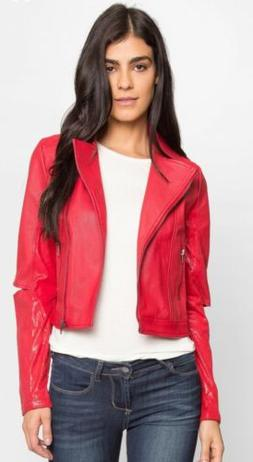 Wet Seal Womens Aviator Moto Burning Rubber Red Faux Leather