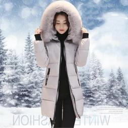 Winter Women's Fur Collar Hooded Down Jacket Long Coat Cotto