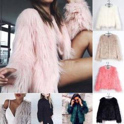 US Womens Celeb Faux Fur Furry Jacket Shaggy Cardigan Coat W
