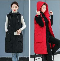 winter womens cotton sleeveless jacket hooded thick