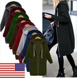 Winter Womens Plus Size Long Sleeve Hooded Ladies Cardigan Z