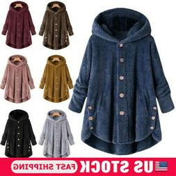 Winter Womens Warm Fluffy Coat Overcoat Button Jacket Tops O
