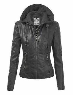 Made By Johnny WJC1044 Womens Faux Leather Quilted Motorcycl