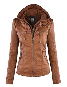 WJC663 Womens Removable Hoodie Motorcyle Jacket L Camel