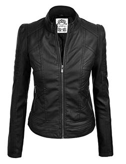 Made By Johnny WJC746 Womens Vegan Leather Motorcycle Jacket
