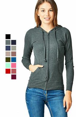 Women Basic Hoodie Jacket Waffle Knit Lightweight Zip Up w/