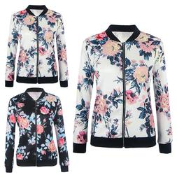 Women Zipper Coat Floral Printed Casual Short Jacket Long Sl