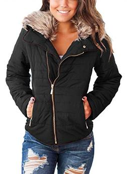Sidefeel Women Faux Fur Collar Zip Up Front Coat Quilted Jac