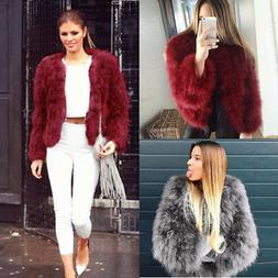 Women Faux Fur Ostrich Feather Soft Fur Coat Jacket Fluffy W